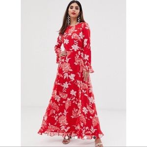 ❤️ Red & White Flower Printed Maxi Dress